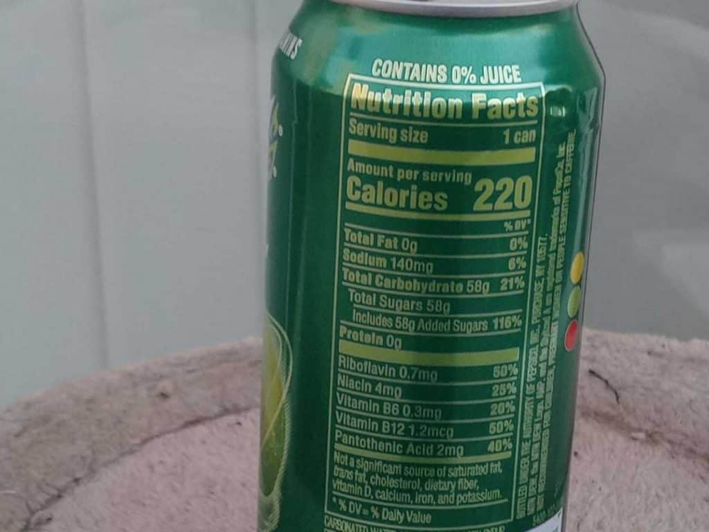 Nutrition Facts of AMP Energy Drink