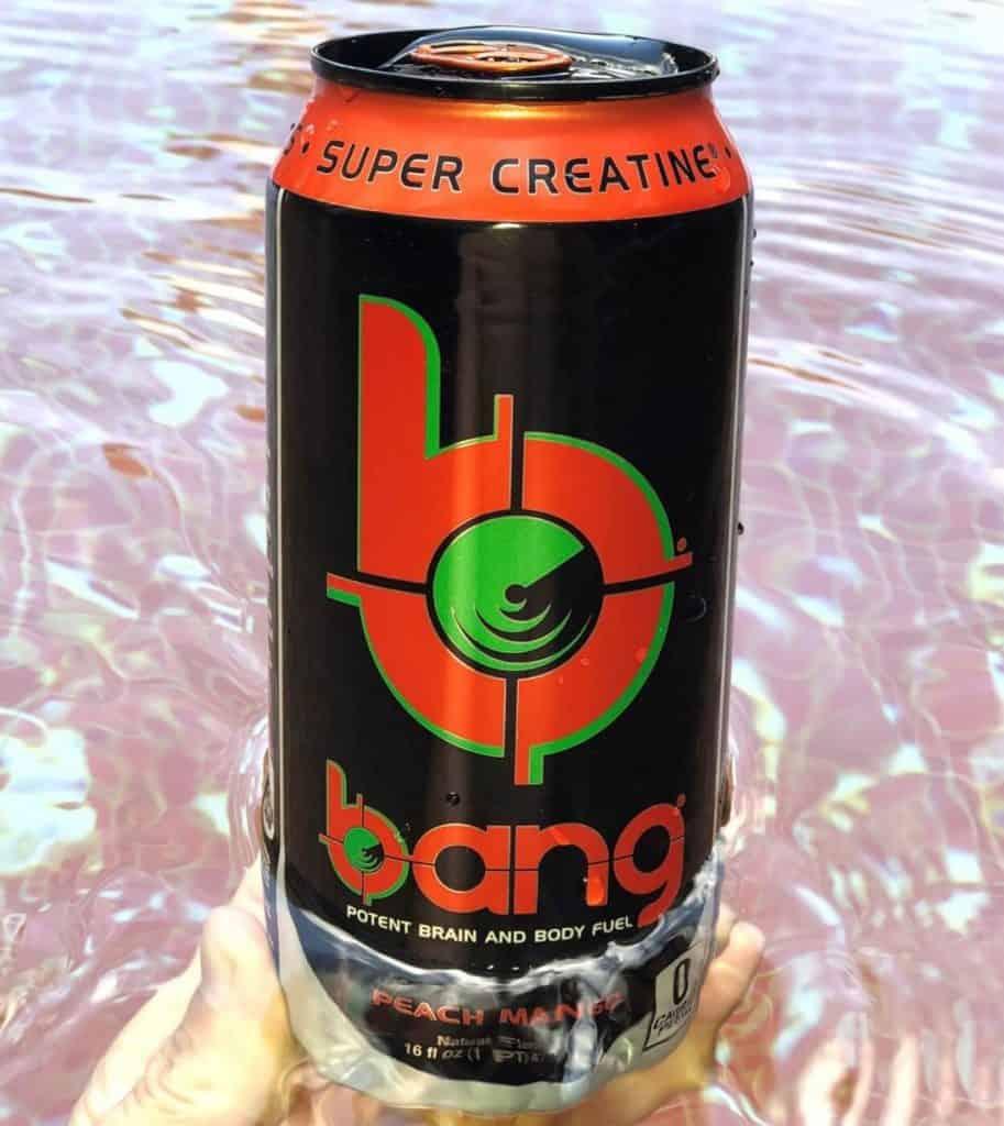 A can of Bang, Peach mango flavor