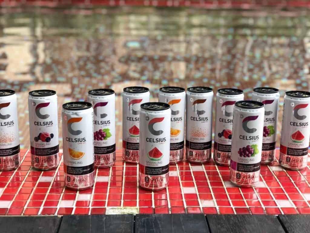 Horizontal arrangement of Celsius energy drinks in various flavors