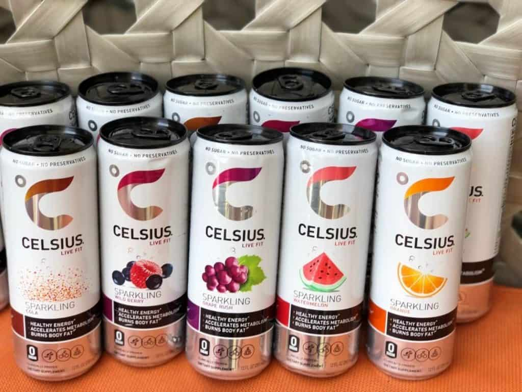 Cans of Celsius Energy Drink