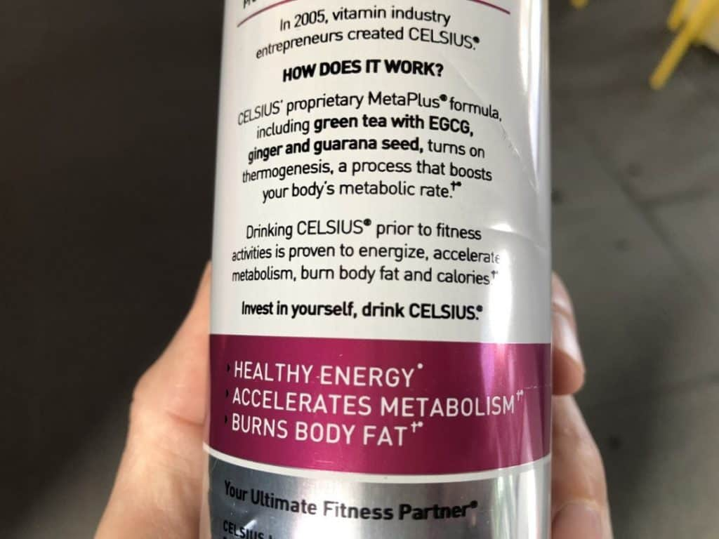 List of all the ingredients found in Celsius MetaPlus Blend
