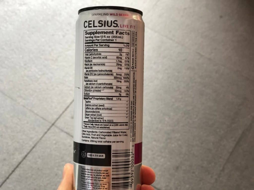 List of ingredients and supplement facts of Celsius