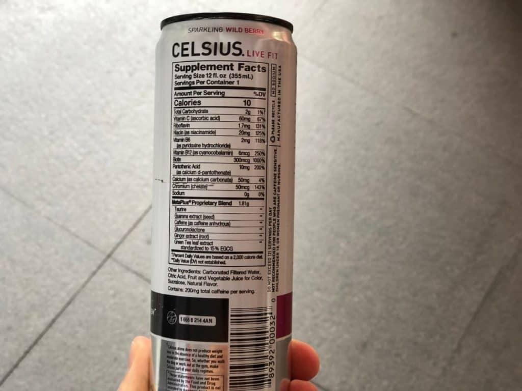 Celsius Supplement Facts