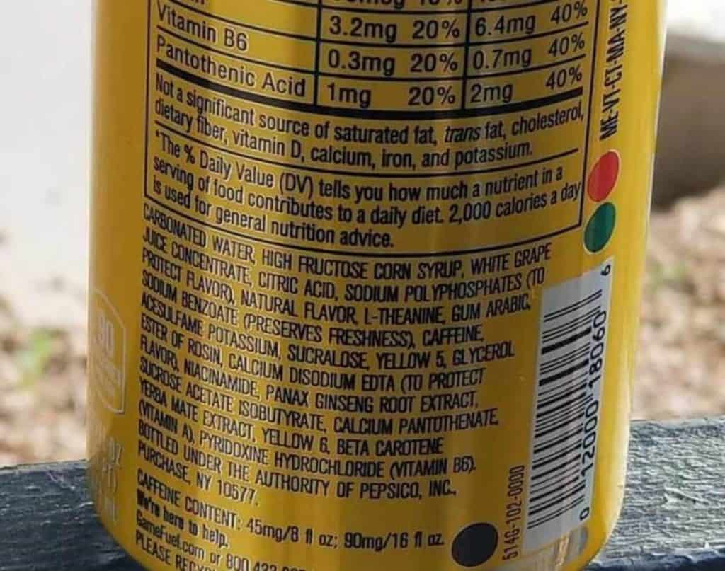 Game Fuel Ingredients list on the can