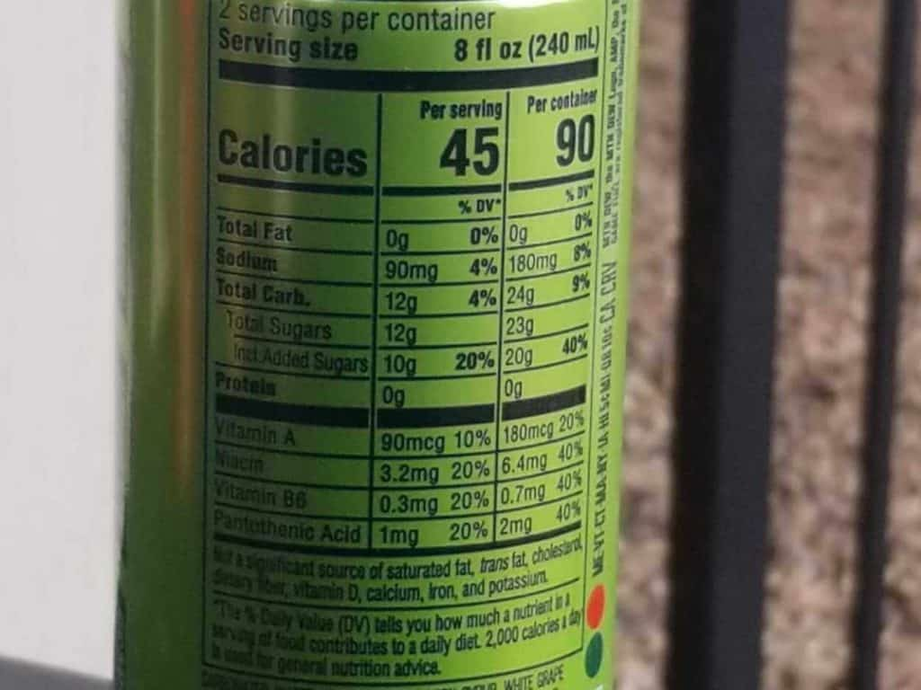 Game Fuel Energy Drink Nutrition Facts