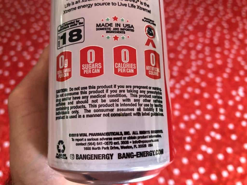 a photo of Bang Energy Drink showing 0 sugar and 0 calories.