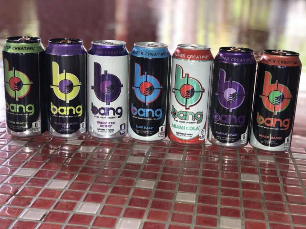 a photo of Bang Energy Drinks in several flavors