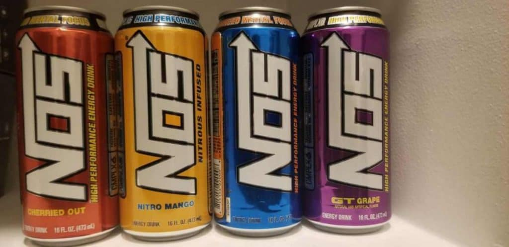 Four NOS energy drink in different flavors.