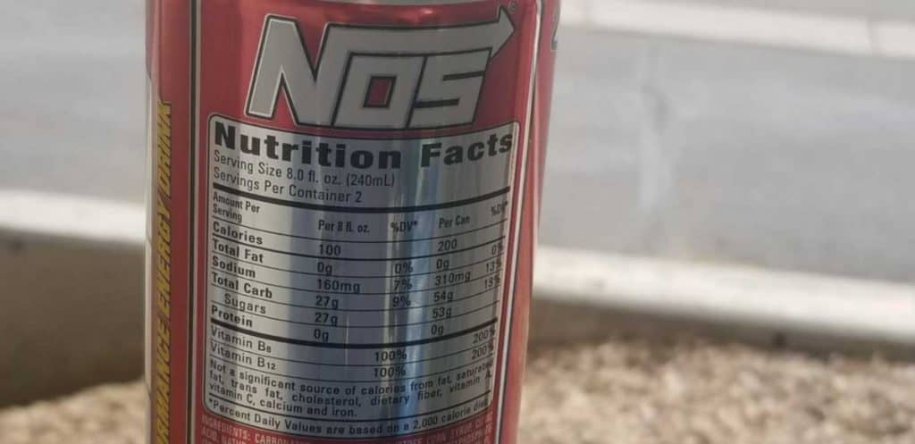 Nutrition facts of NOS energy drink.