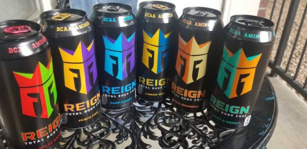 Different flavors of Reign energy drink