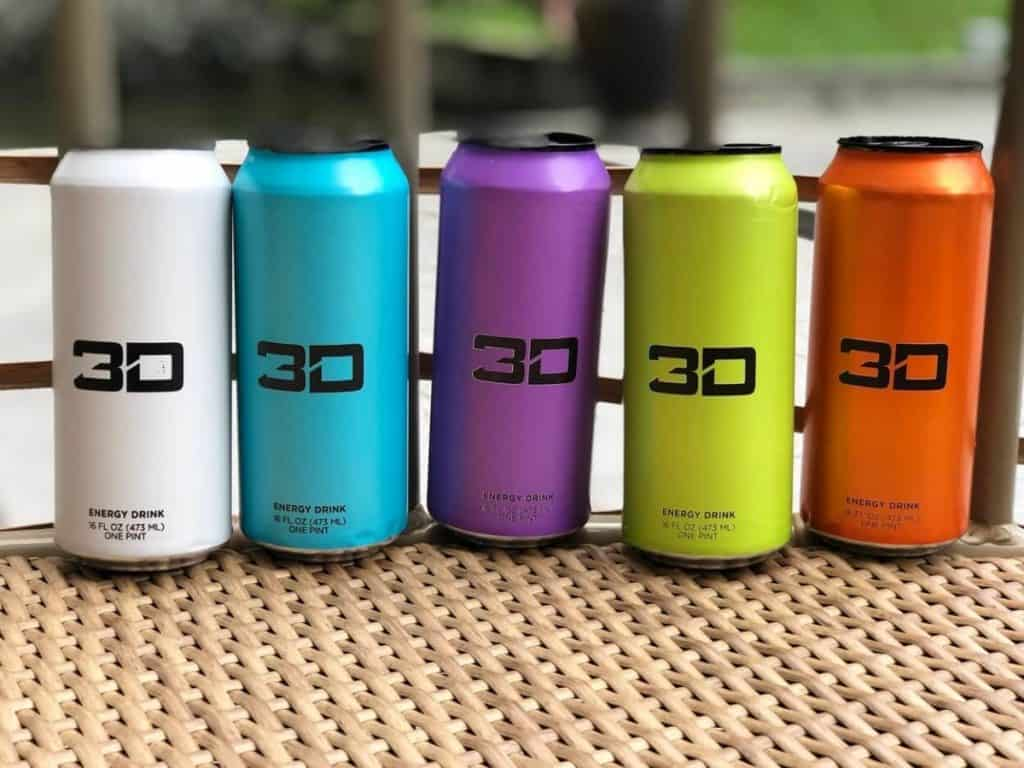 Cans of 3D Energy Drinks