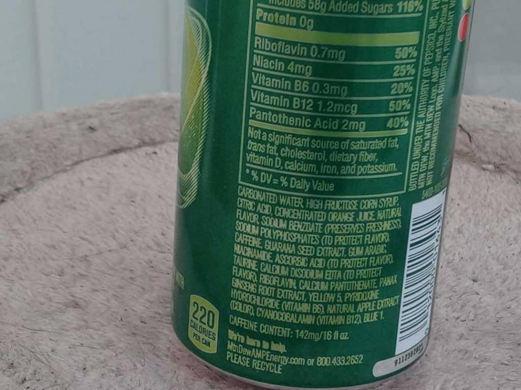 Ingredients in AMP Energy Drink