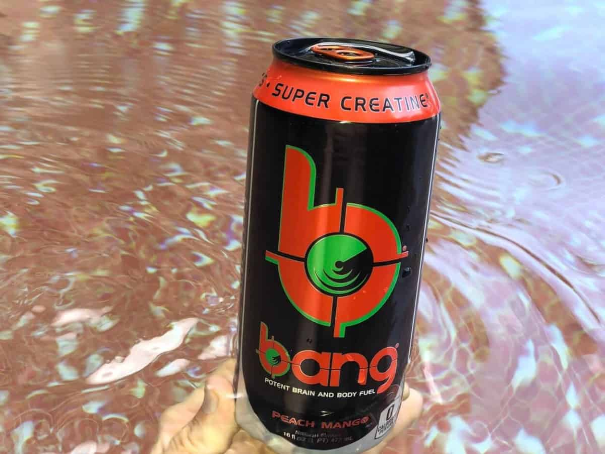 A can of Bang Peach Mango energy drink