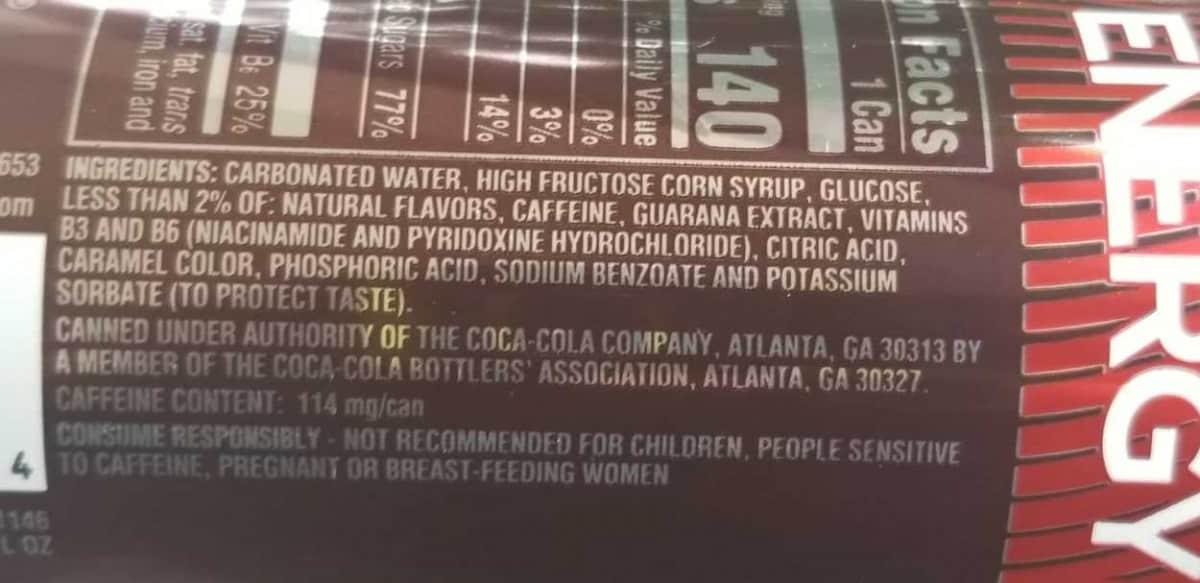 Ingredients label of Coca-Cola Energy