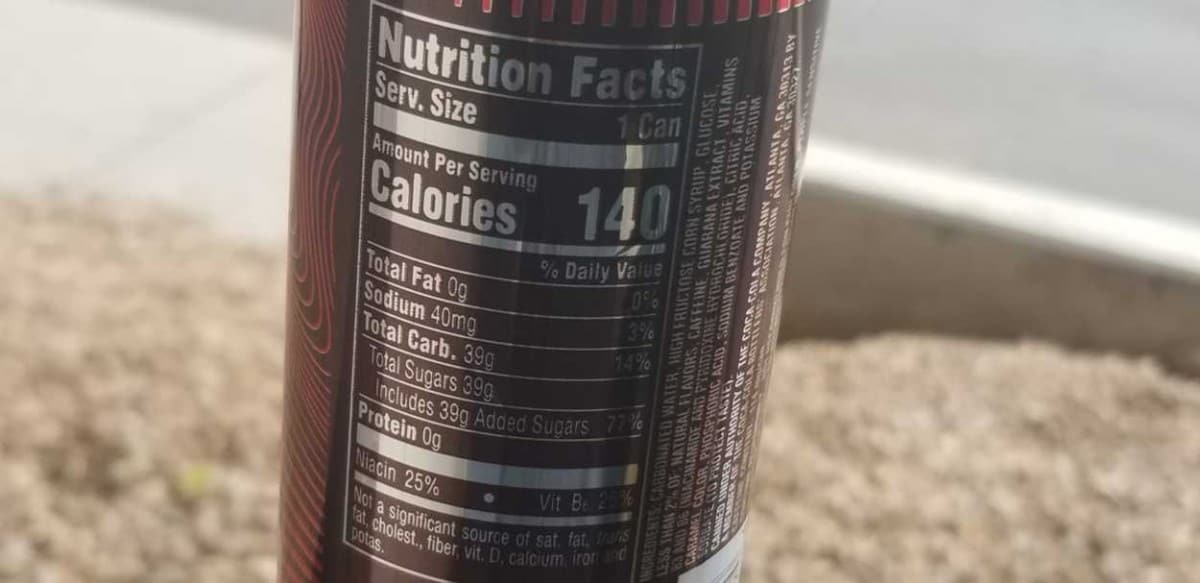 Nutrition Facts label of Coca-Cola Energy