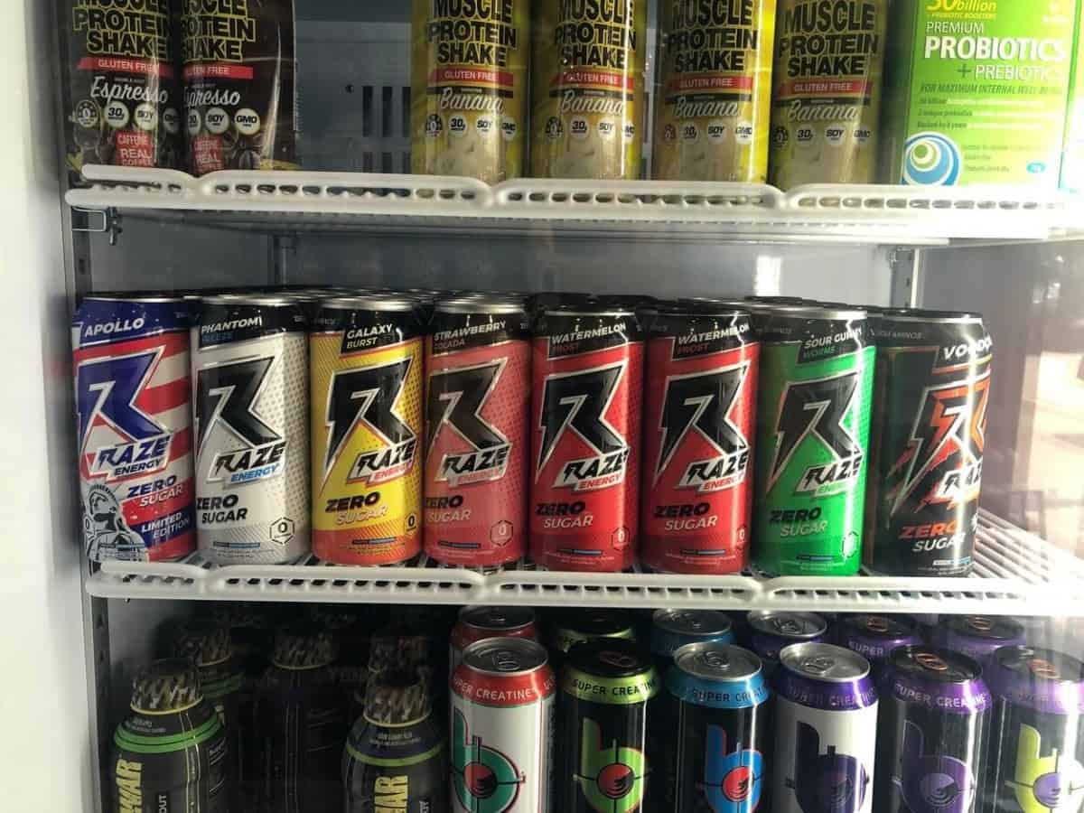 Cans of different energy drinks