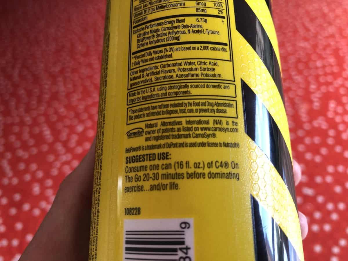 Ingredients of C4 energy drink