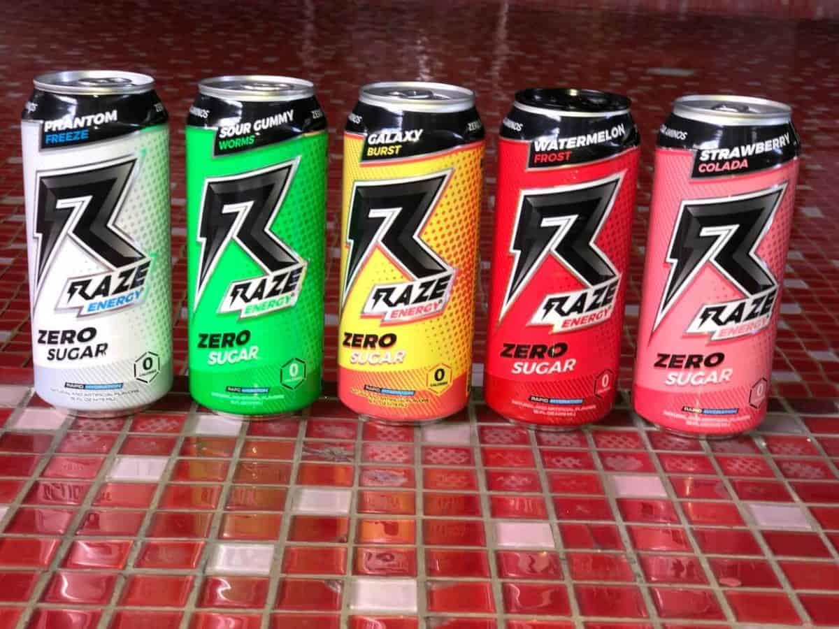 Raze energy drink in different flavors