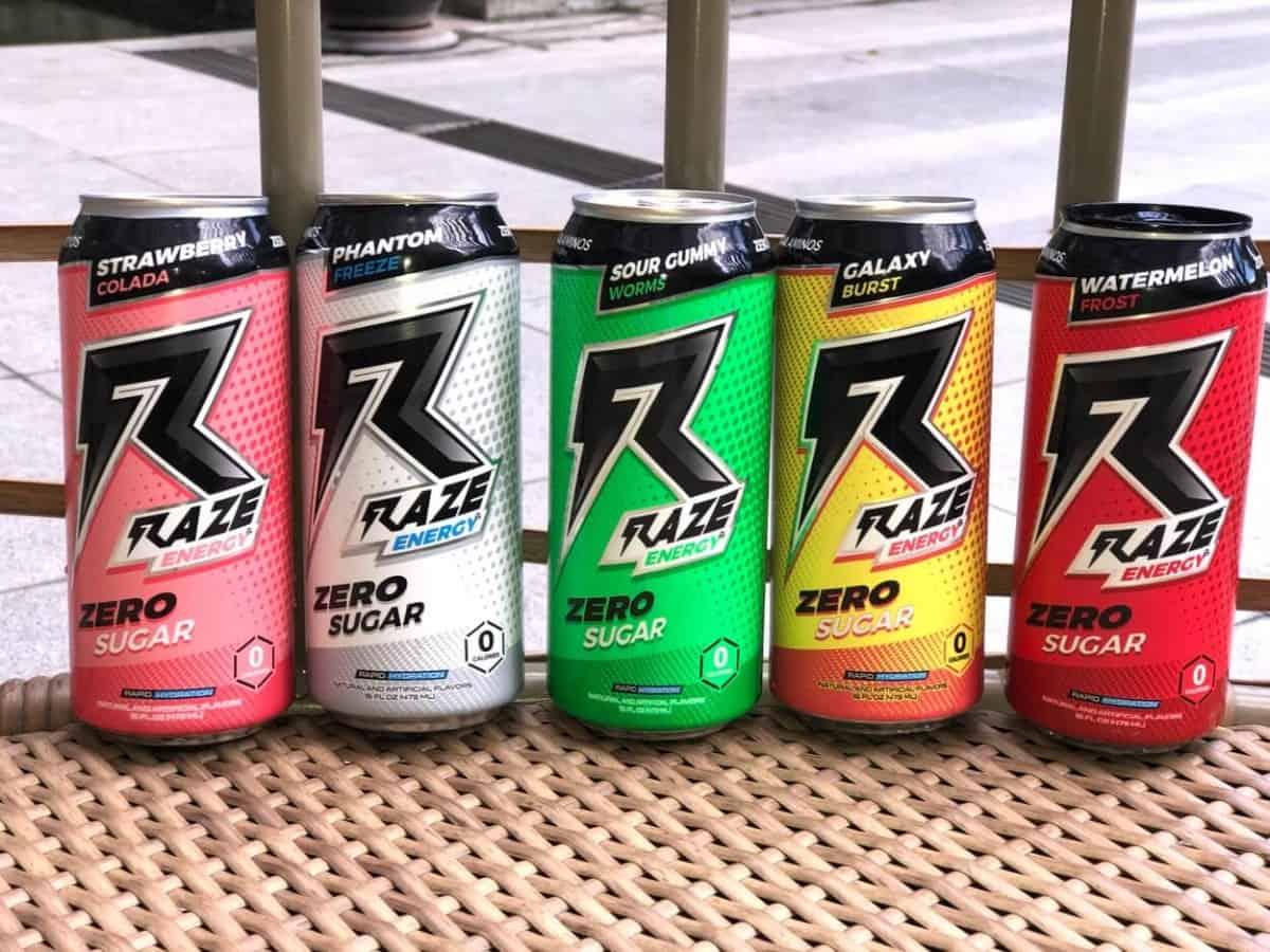 Raze energy drinks in different flavors
