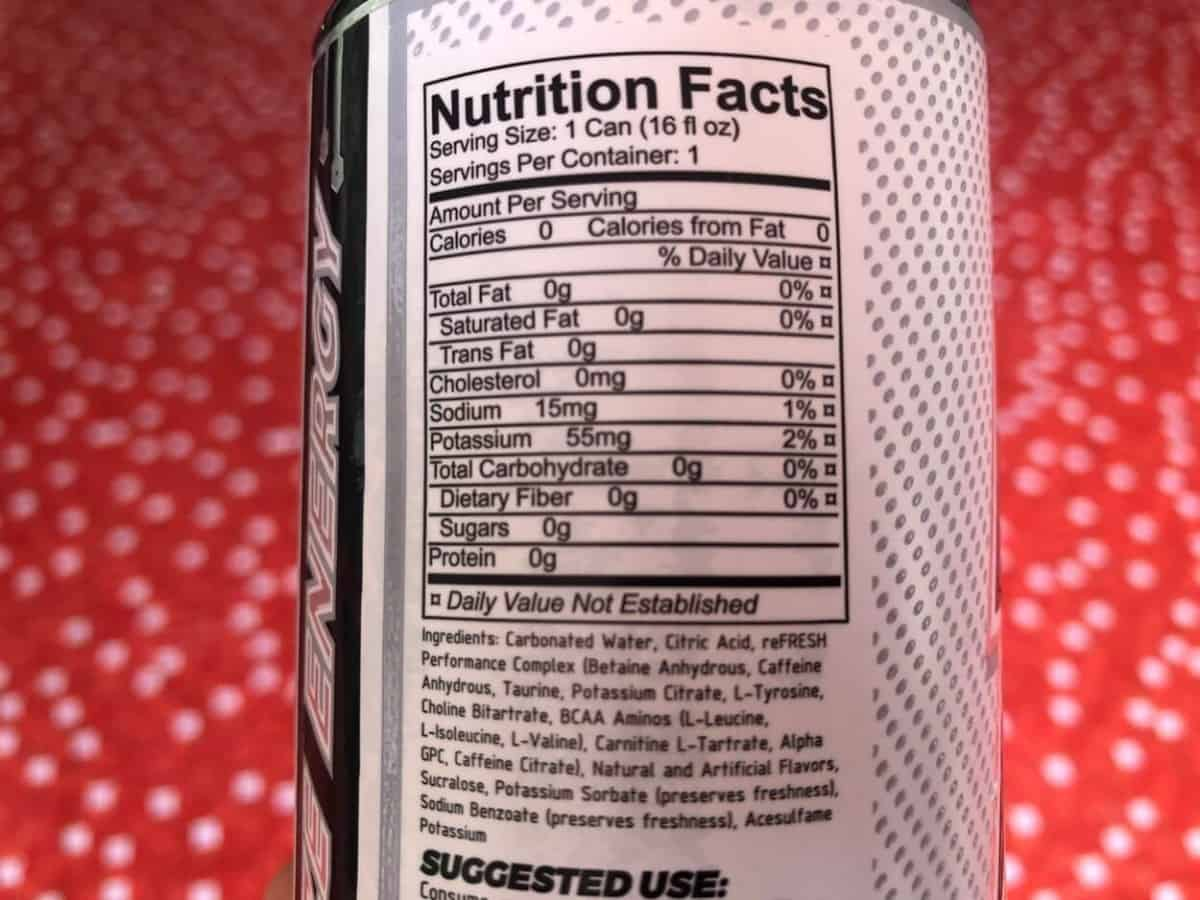 Nutrition facts of Raze energy drink