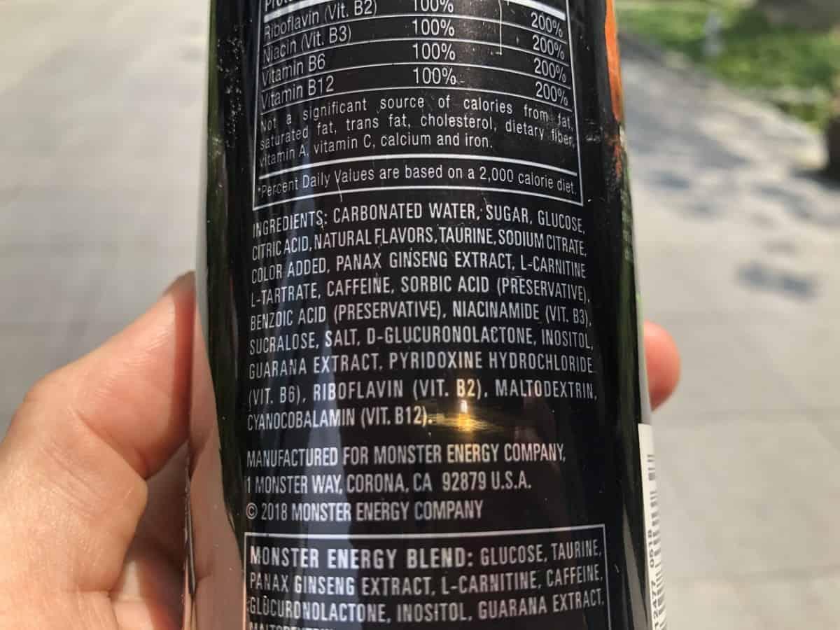 Ingredients In Monster Energy Drink