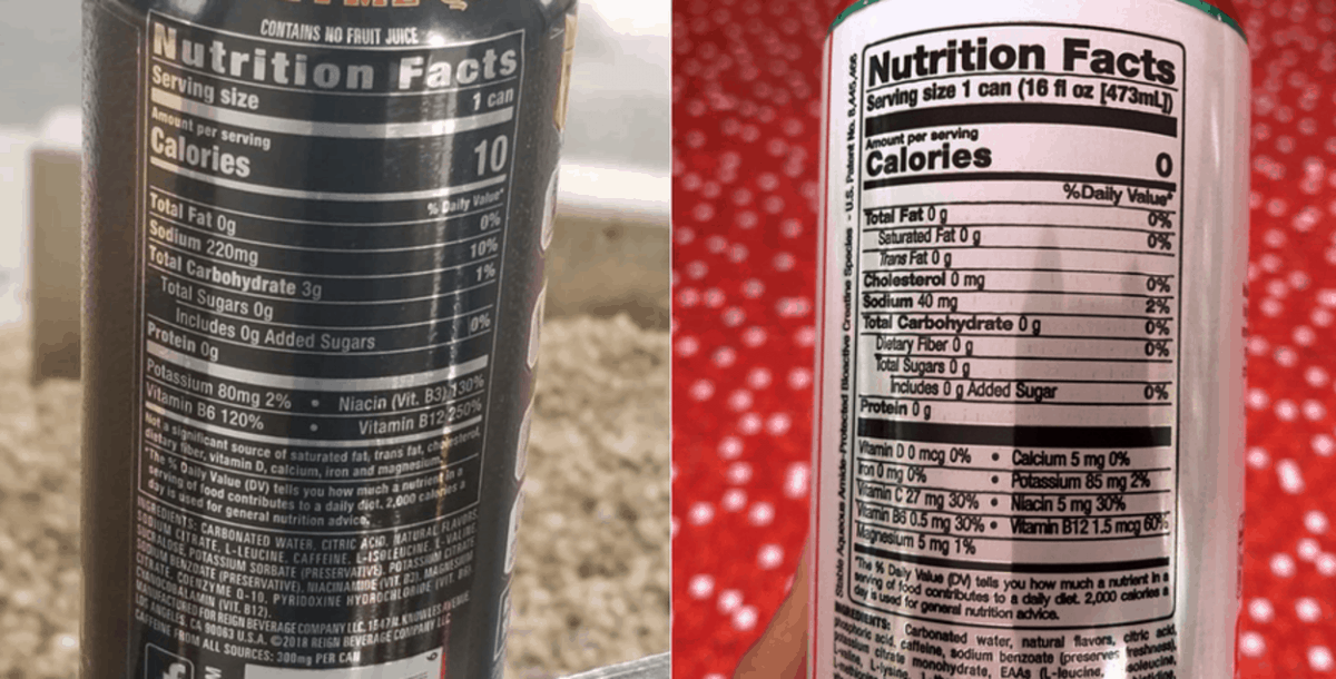 Nutrition facts of Reign and Bang