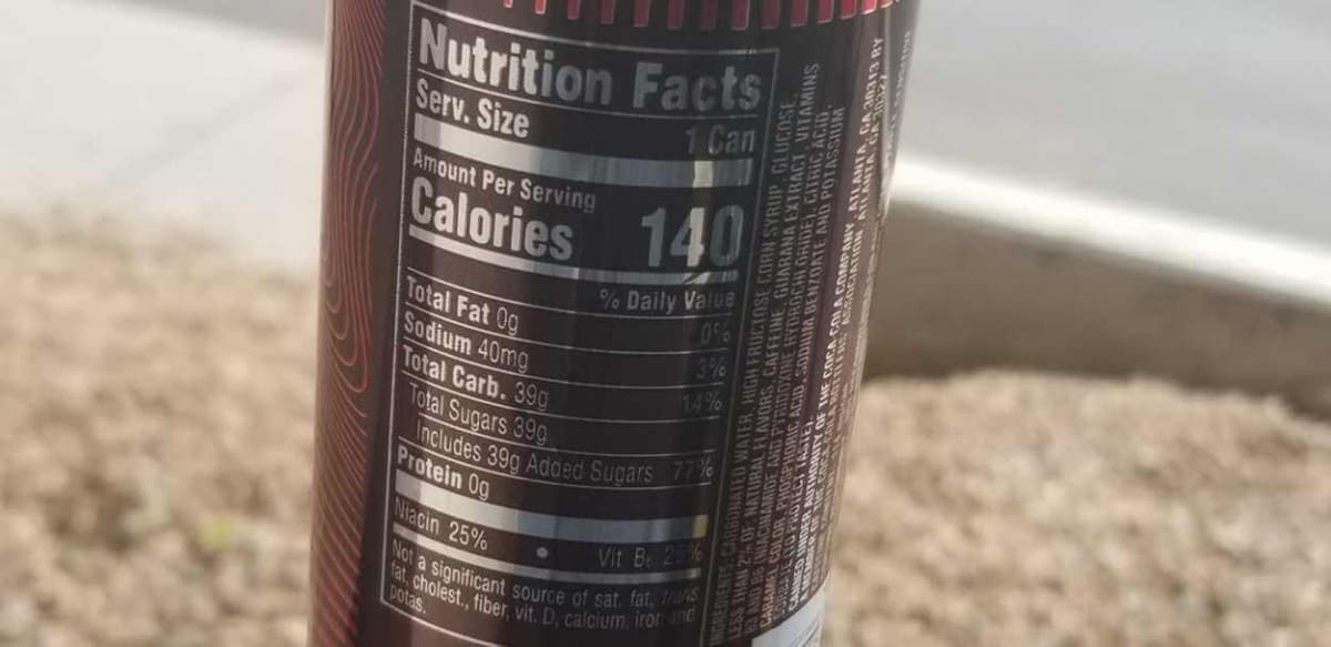 Drink can, Nutrition Facts