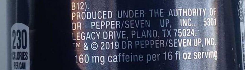 Ingredients label of Venom