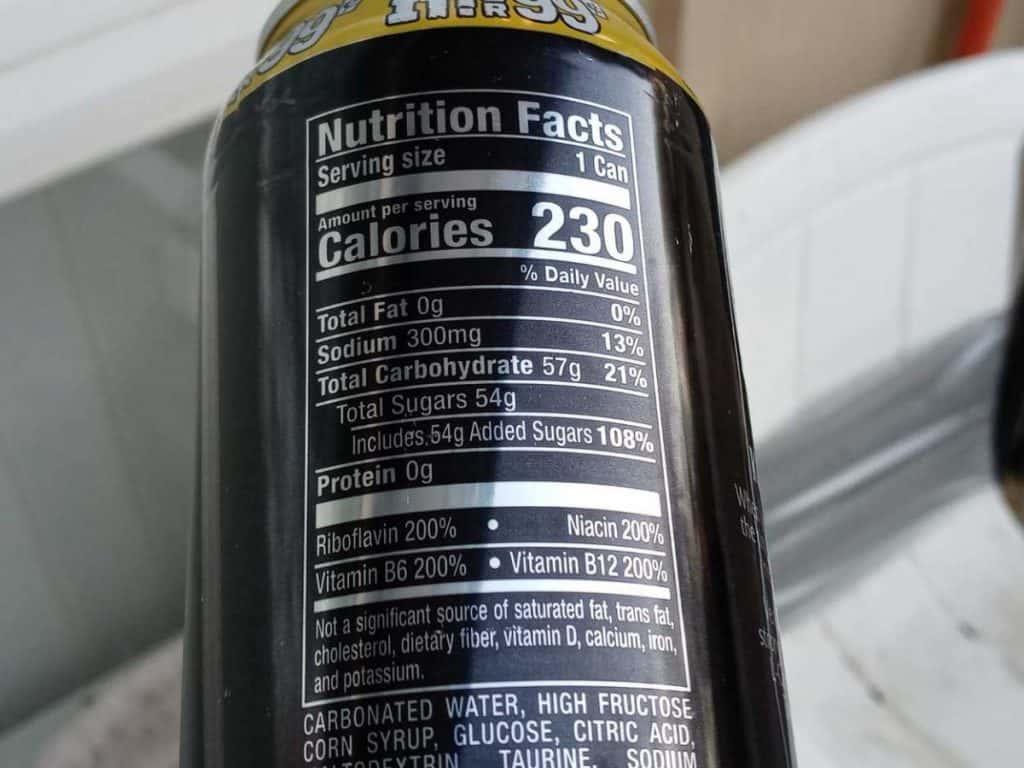 Nutrition Facts label of Venom