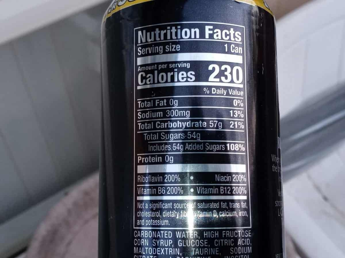 Label of Nutrition Facts for Venom Energy Drink
