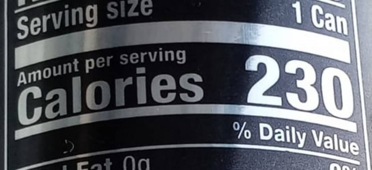 calories, back of can