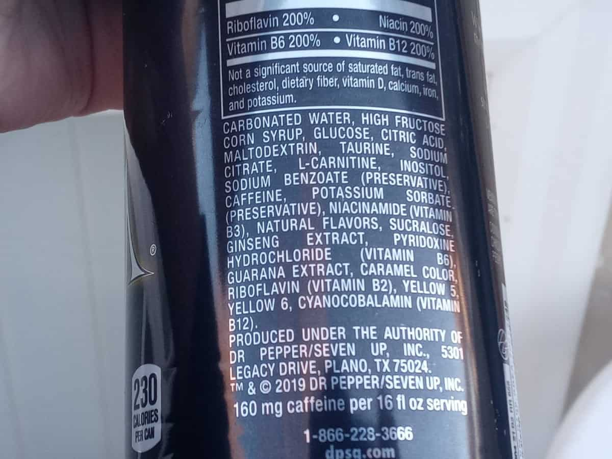 label of a can, venom energy drink