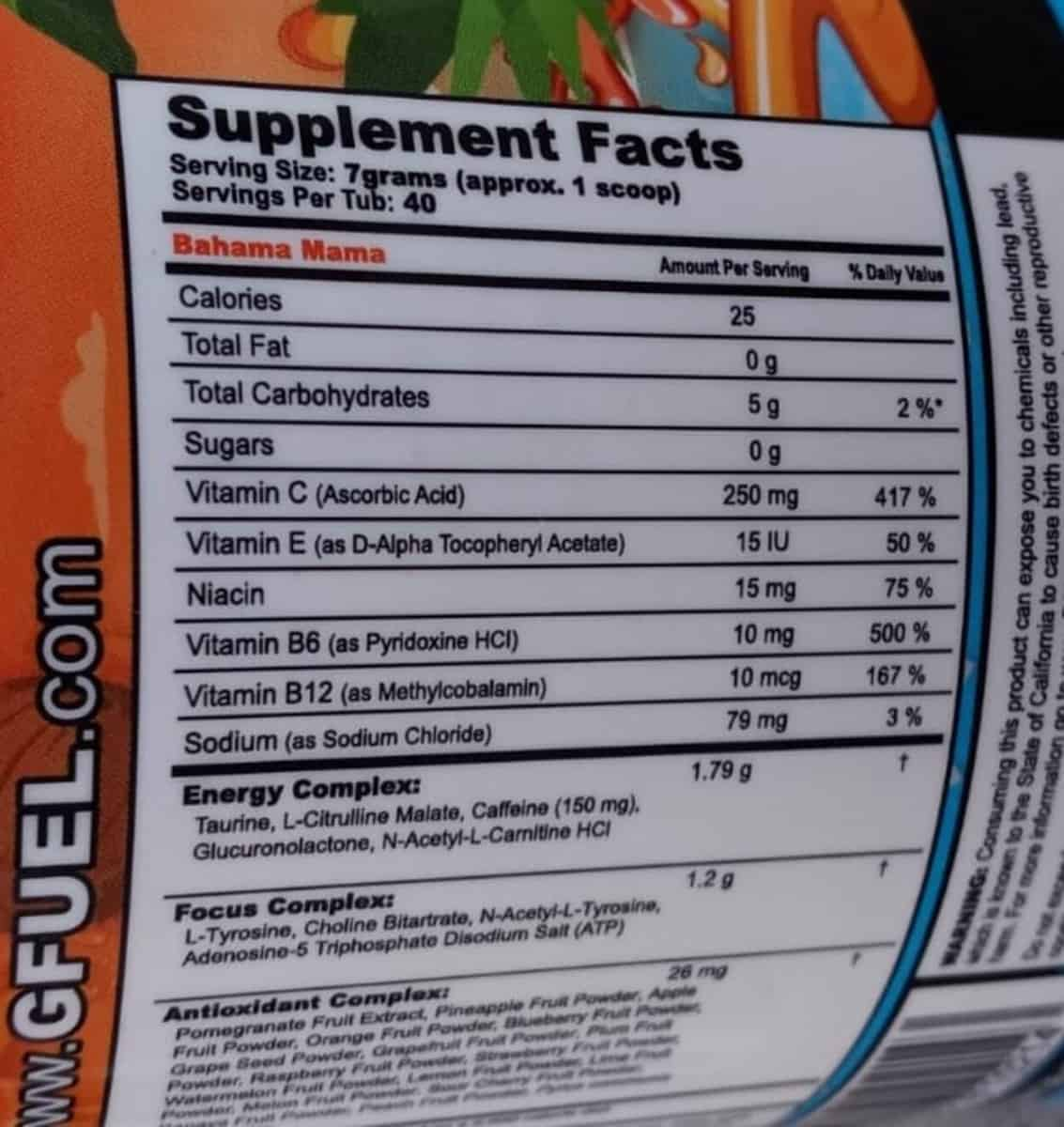 Supplement facts, G Fuel Powder, Label on a tub