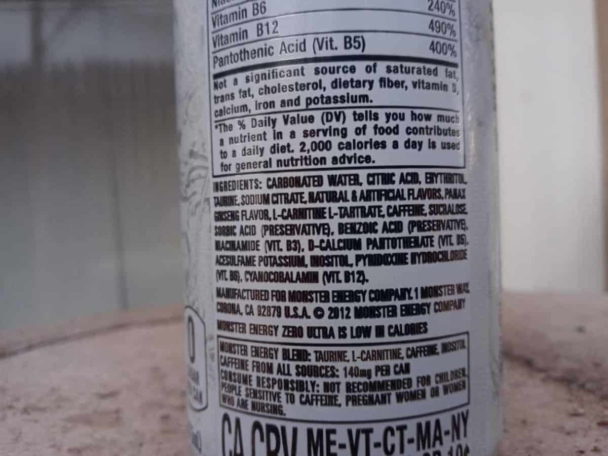 back of can, energy drink