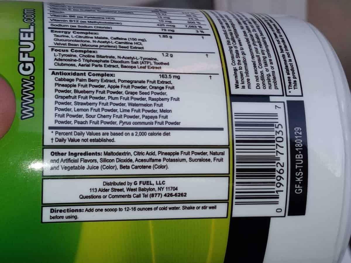 Ingredients of G Fuel Powder