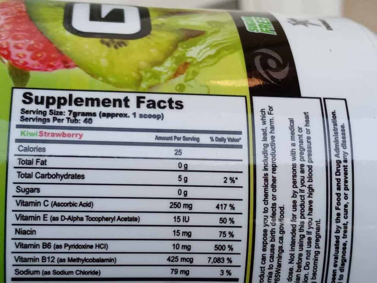Nutrition facts of G Fuel Powder