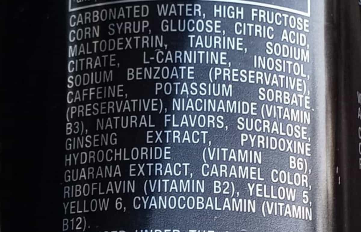 Venom energy drink, Can, Ingredients