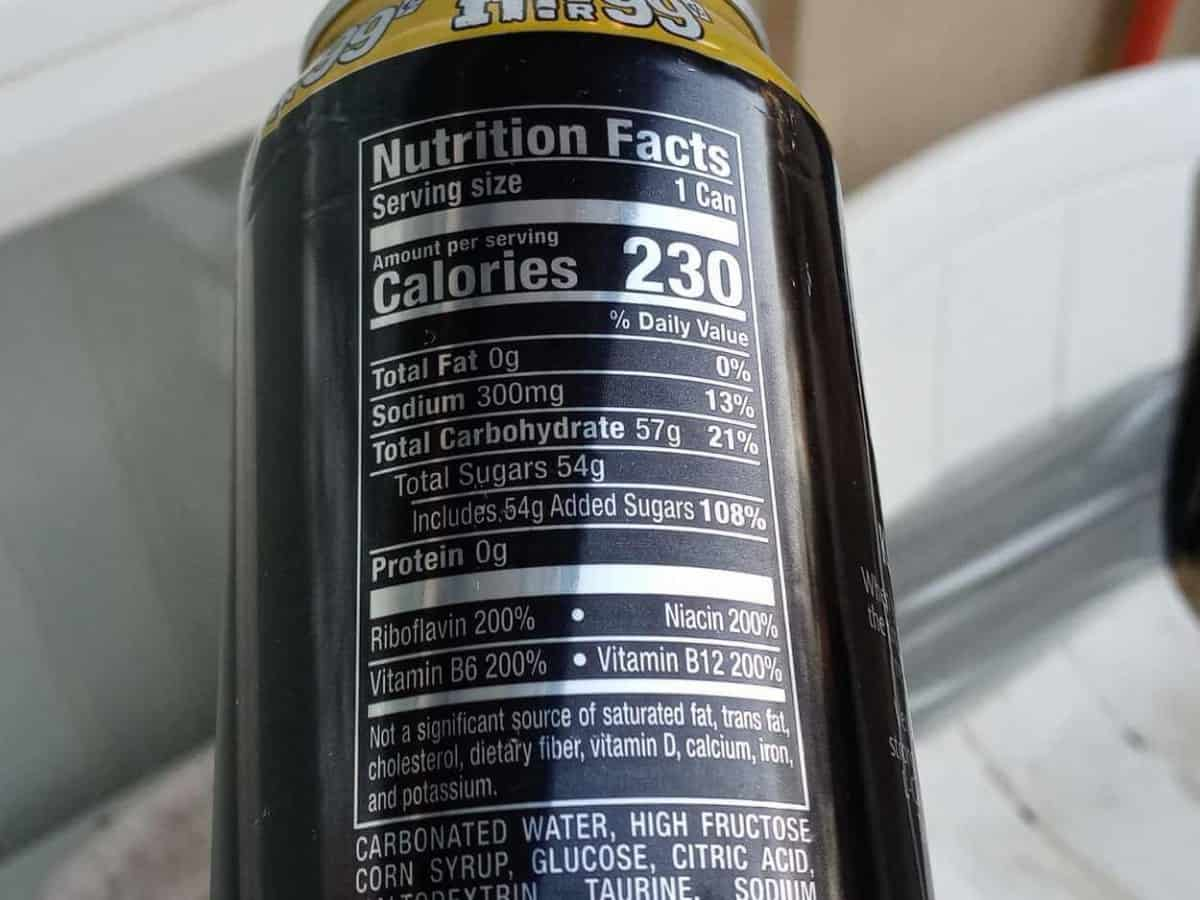 Nutrition facts of Venom Energy Drink