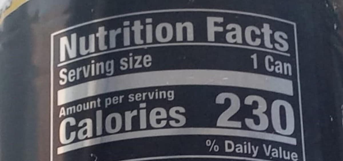Black can, venom energy drink, calories