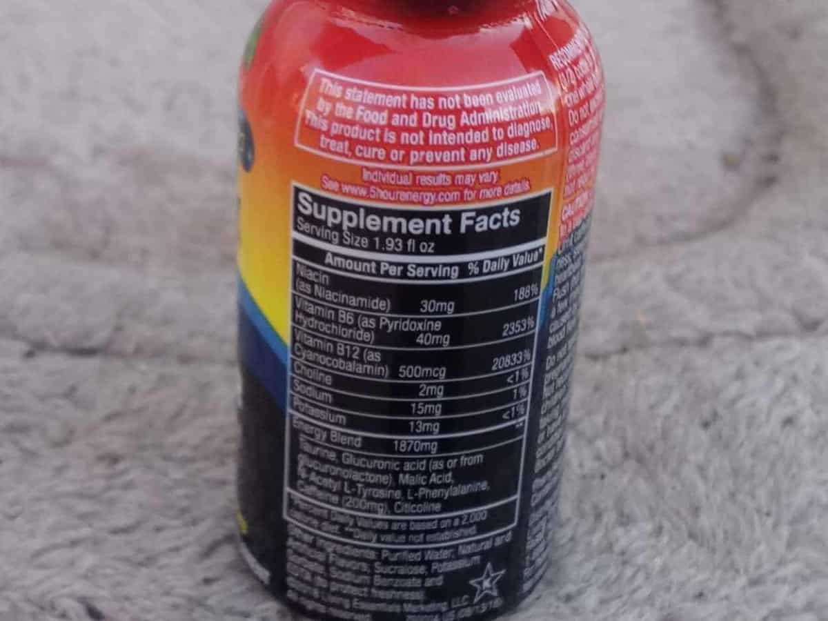 Nutrition facts of 5 Hour Energy