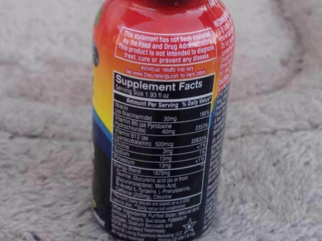 Photo of Supplement Facts of 5 Hour Energy