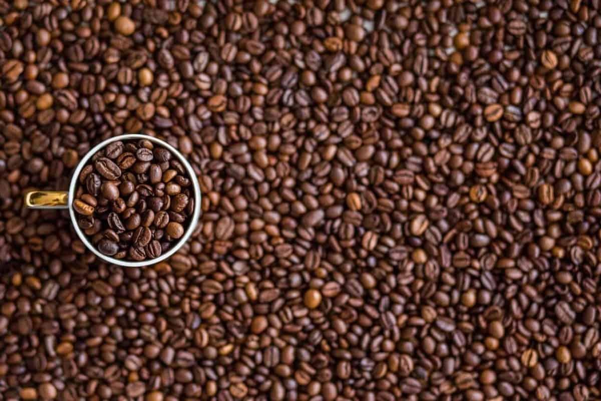 Caffeine and a glass of coffee