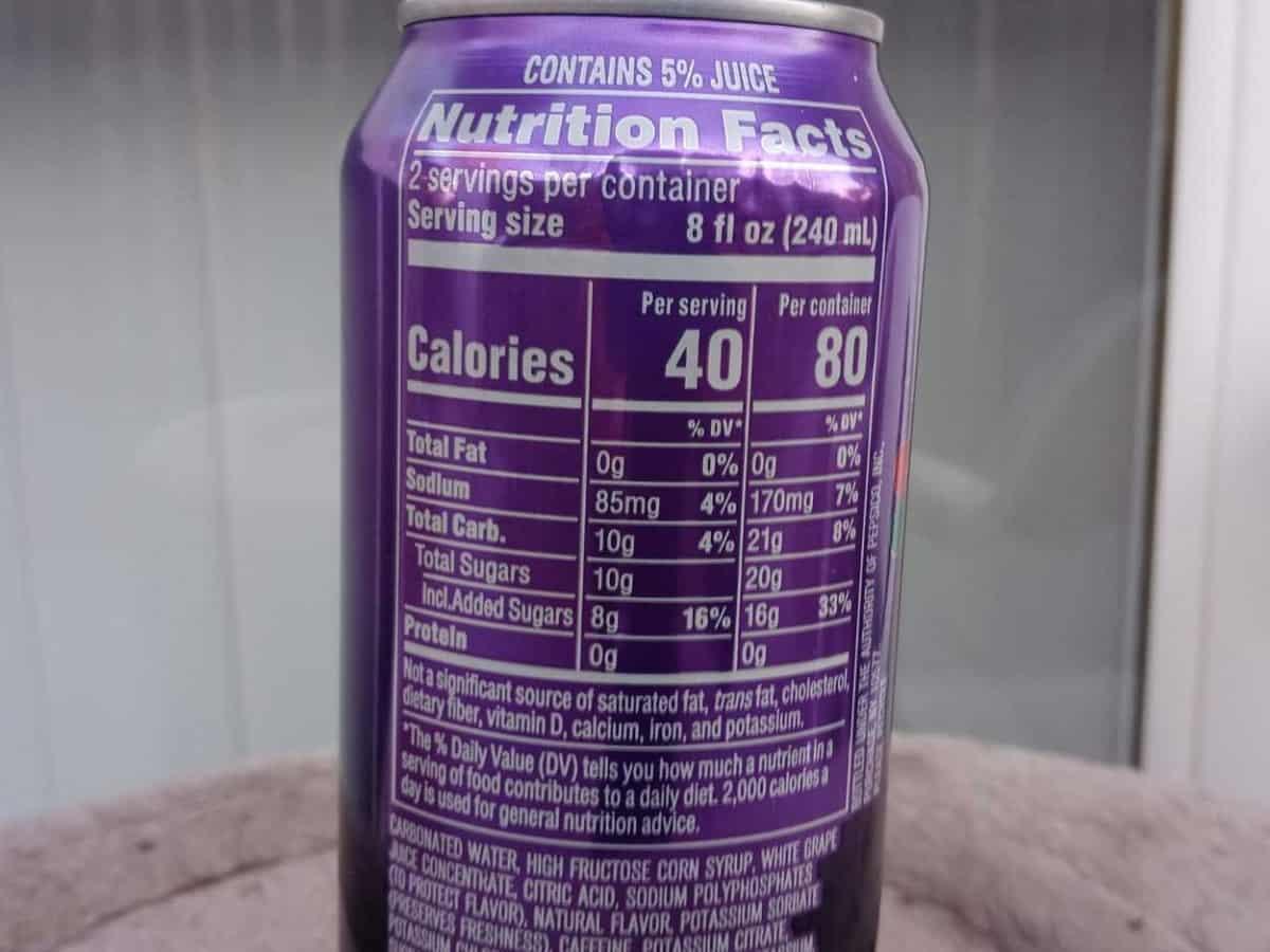 Nutrition Facts Of Mountain Dew Kickstart