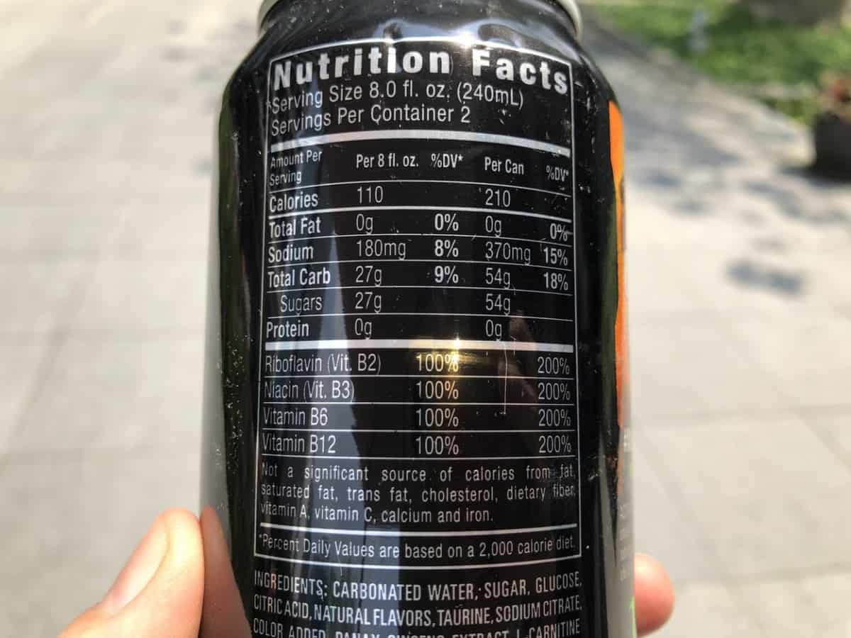 Nutrition Facts of Monster Energy
