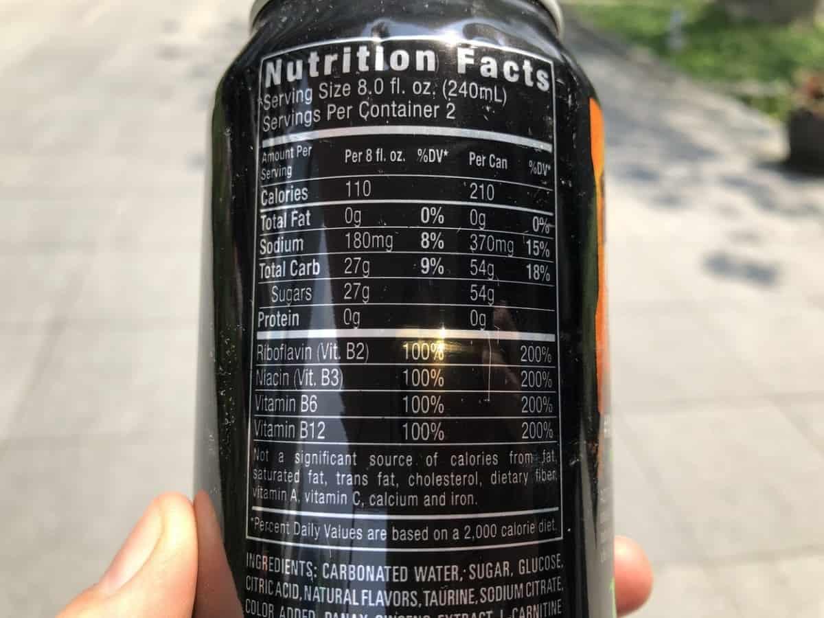 Ingredients Of Monster Energy Drink