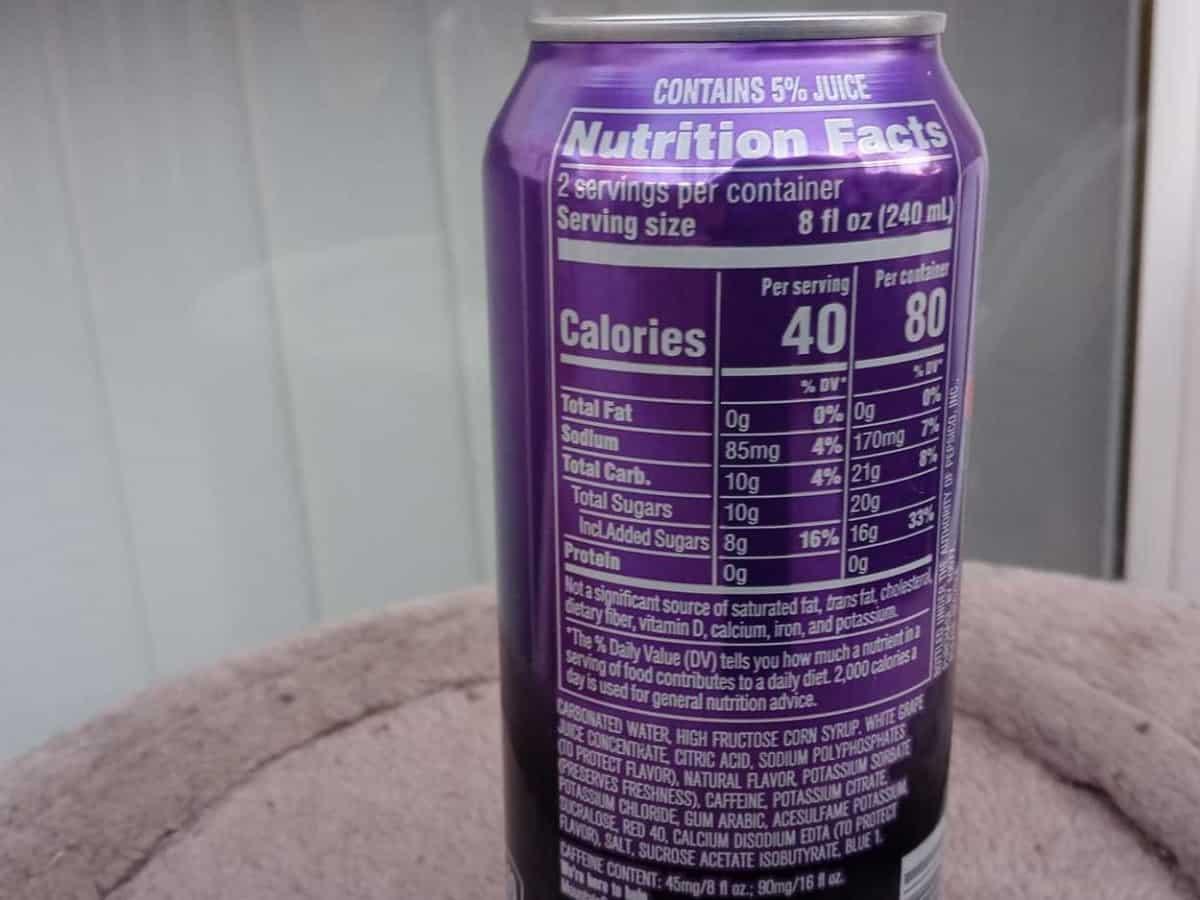 Mountain Dew Kickstart Nutrition Facts