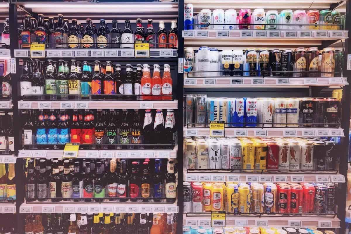 Collection of drinks at a superstore