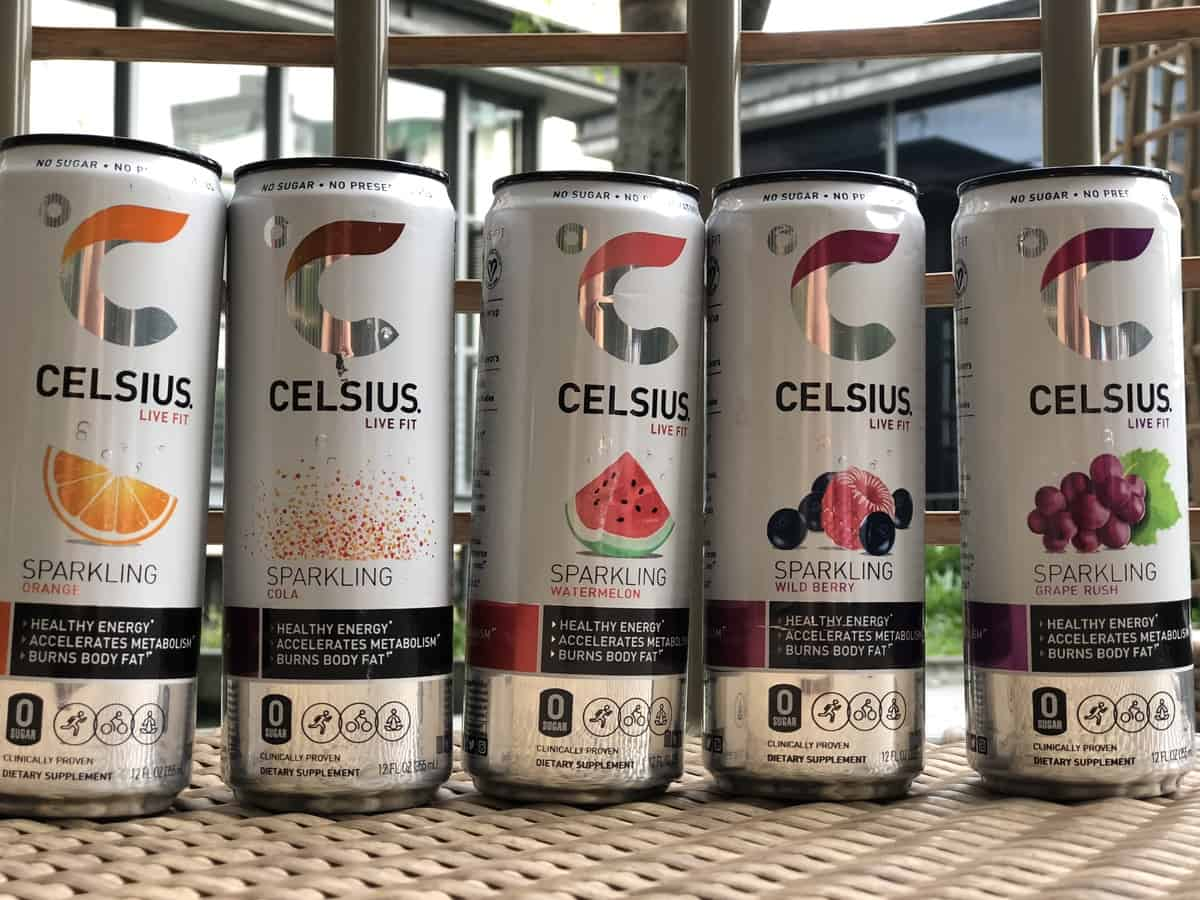 a variety of Celsius drinks