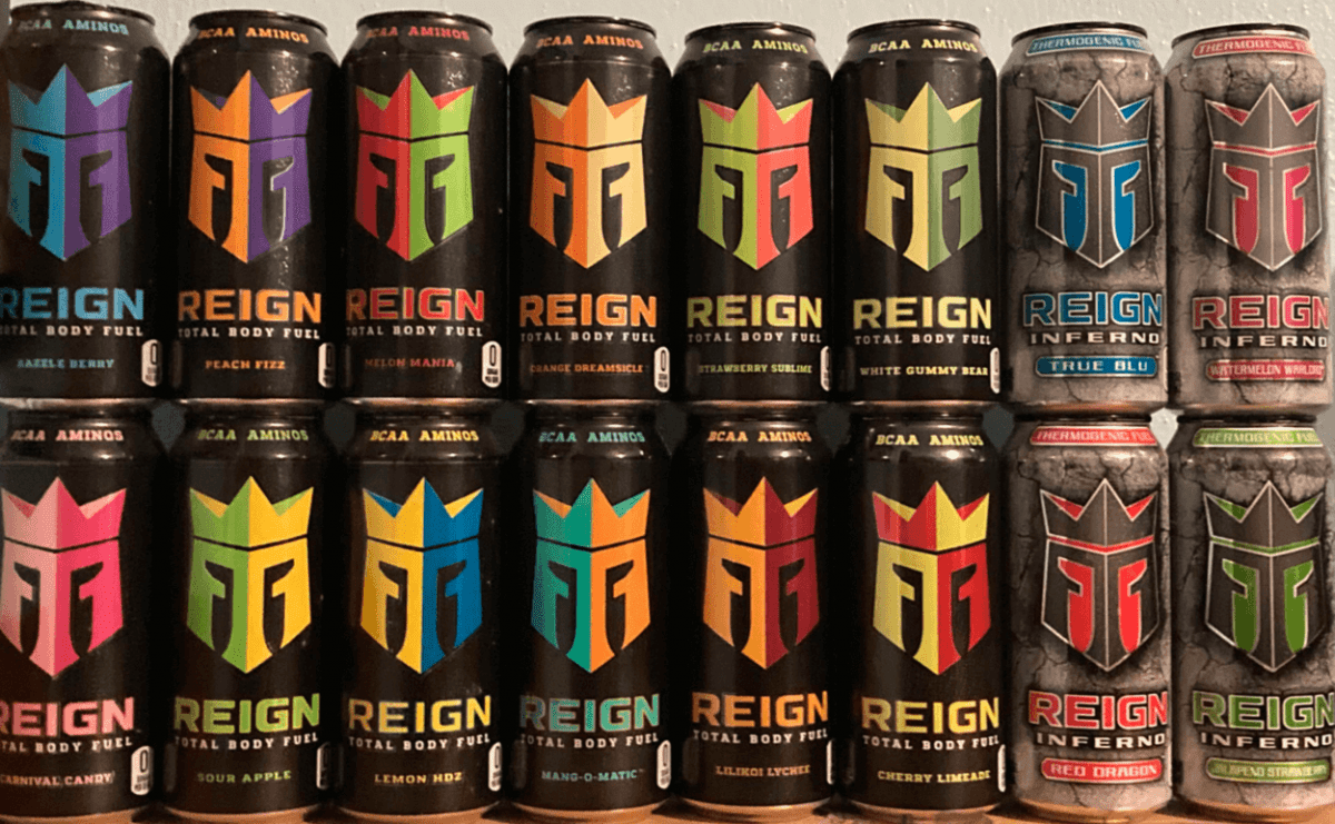 Different flavors of Reign Energy Drink.