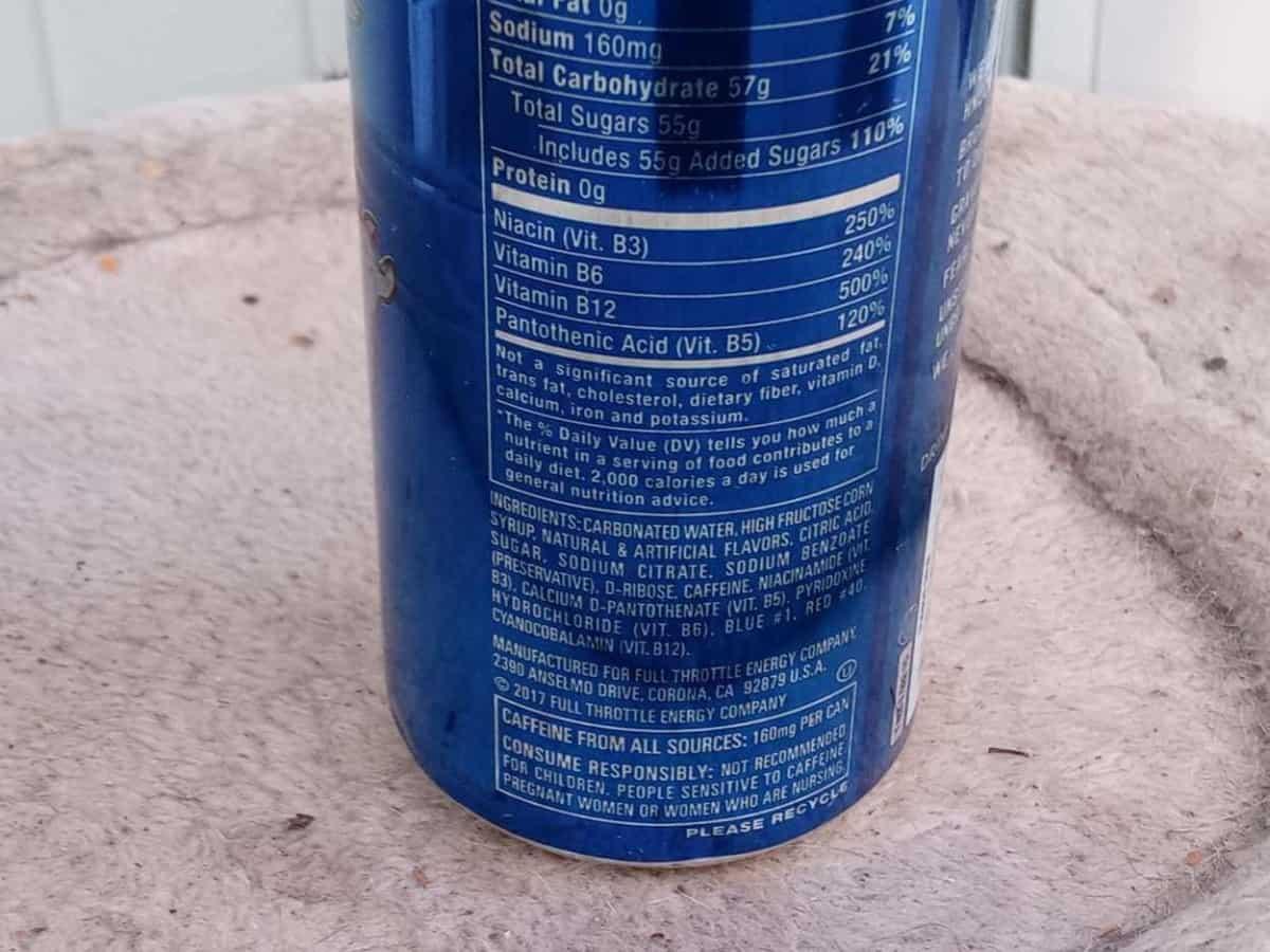 Full Throttle Ingredients label